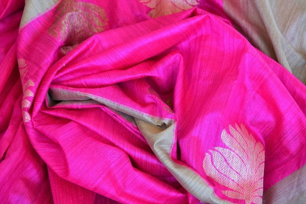 This delicate pink banarasi Silk saree comes with tan borders and a tan blouse piece. Perfect attire for Indian women this summer, available through Pure Elegance online and USA store. - close up