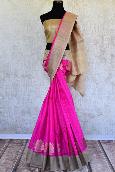 This delicate pink banarasi Silk saree comes with tan borders and a tan blouse piece. Perfect attire for Indian women this summer, available through Pure Elegance online and USA store. - full