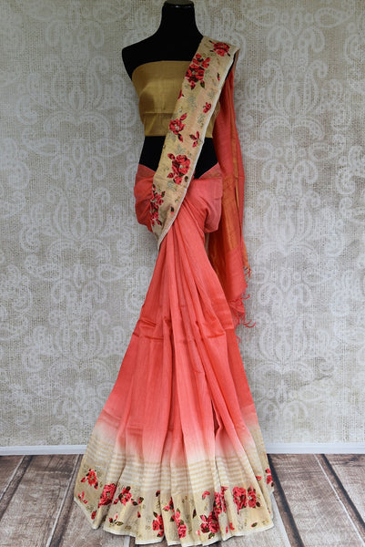 Linen Saree in Peach Pink color with Applique work buy online from Pure Elegance. Classy collection of pure woven Indian Sarees online. Buy Linen saris online for every occasion.-full view