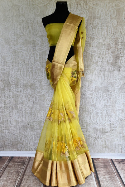 Indian Maheswari Silk Saris now in USA! Pure Elegance online store brings an exclusive range of Maheshwari Silk sarees. Buy yellow Maheshwari Silk Sari online now.- full view
