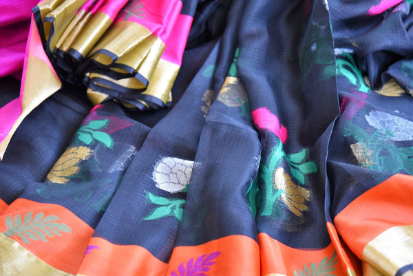 Buy Black Kota Saree with Orange and Gold Border from Pure Elegance online store. Exclusive collection of traditional Kota Sarees for Indian women in USA. Buy now.-details