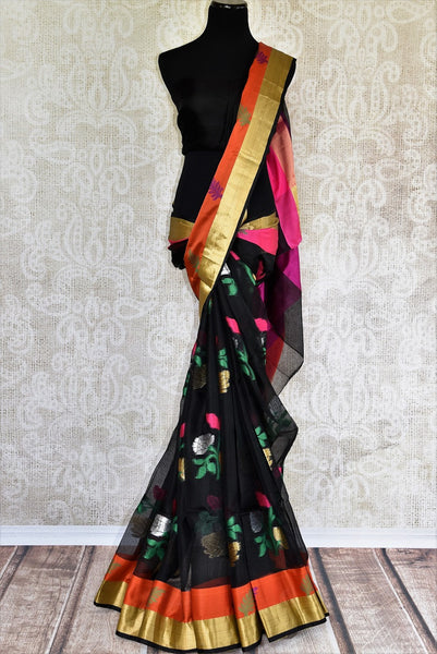 Buy Black Kota Saree with Orange and Gold Border from Pure Elegance online store. Exclusive collection of traditional Kota Sarees for Indian women in USA. Buy now.-full view
