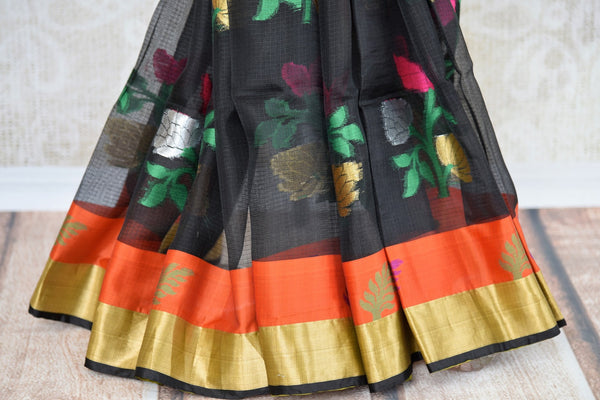 Buy Black Kota Saree with Orange and Gold Border from Pure Elegance online store. Exclusive collection of traditional Kota Sarees for Indian women in USA. Buy now.-pleats