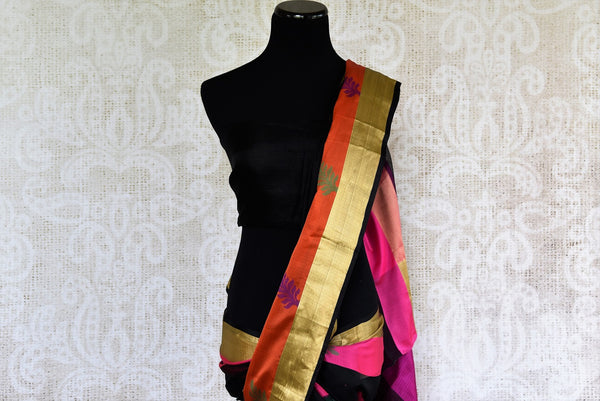 Buy Black Kota Saree with Orange and Gold Border from Pure Elegance online store. Exclusive collection of traditional Kota Sarees for Indian women in USA. Buy now.-pallu