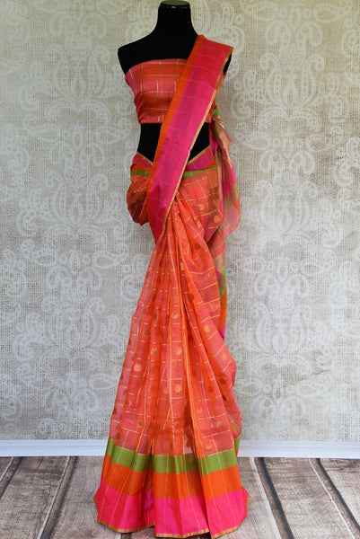 Buy Pink Zari Kota saree online from Pure Elegance store. Beautiful collection of Kota sarees online in USA for Indian women. Perfect for festivals and parties.-full view