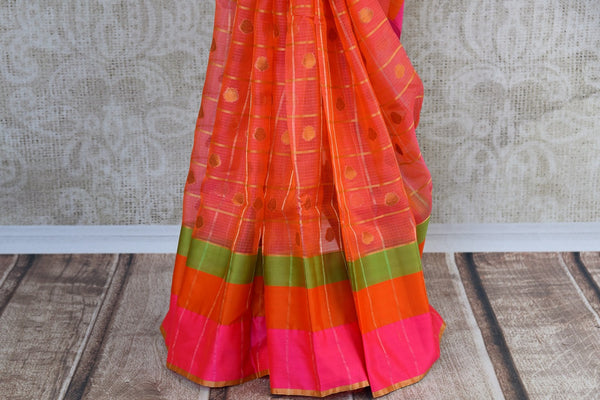 Buy Pink Zari Kota saree online from Pure Elegance store. Beautiful collection of Kota sarees online in USA for Indian women. Perfect for festivals and parties.-pleats