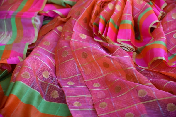 Buy Pink Zari Kota saree online from Pure Elegance store. Beautiful collection of Kota sarees online in USA for Indian women. Perfect for festivals and parties.-details