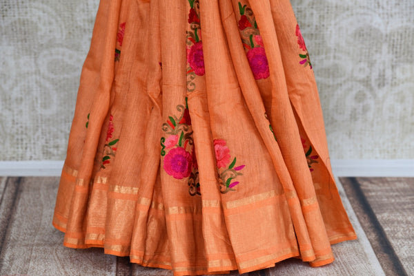 Looking for Linen Saris in USA? Buy this Orange Linen Saree online with embroidered motifs from Pure Elegance store. Pure Linen sarees online with latest Indian designs.-pleats