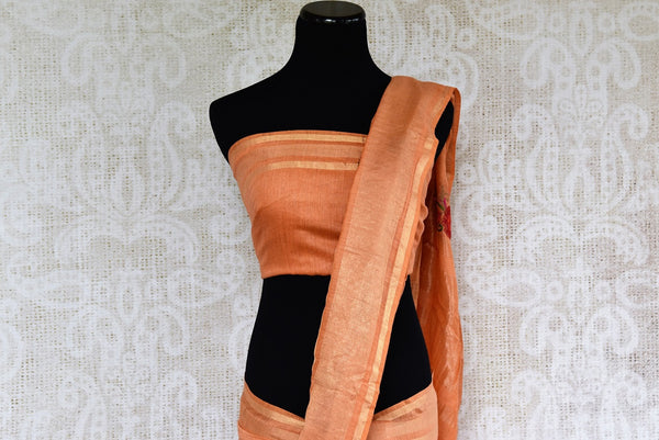 Looking for Linen Saris in USA? Buy this Orange Linen Saree online with embroidered motifs from Pure Elegance store. Pure Linen sarees online with latest Indian designs.-pallu