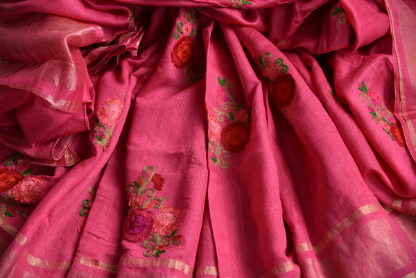 Buy Dark Rose Pink Linen Saree online with floral embroidered motifs from Pure Elegance store. Pure Linen saris online with traditional and latest Indian designs.-details