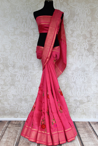 Buy Dark Rose Pink Linen Saree online with floral embroidered motifs from Pure Elegance store. Pure Linen saris online with traditional and latest Indian designs.-full view