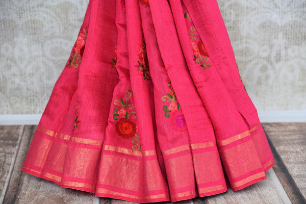 Buy Dark Rose Pink Linen Saree online with floral embroidered motifs from Pure Elegance store. Pure Linen saris online with traditional and latest Indian designs.-pleats