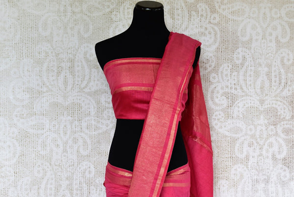 Buy Dark Rose Pink Linen Saree online with floral embroidered motifs from Pure Elegance store. Pure Linen saris online with traditional and latest Indian designs.-pallu