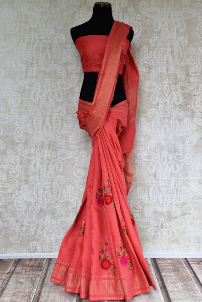Buy Pink Linen Saree online with linen thread embroidery from Pure Elegance store. Pure woven Linen saris online in USA with latest Indian designs for every occasion.-full view