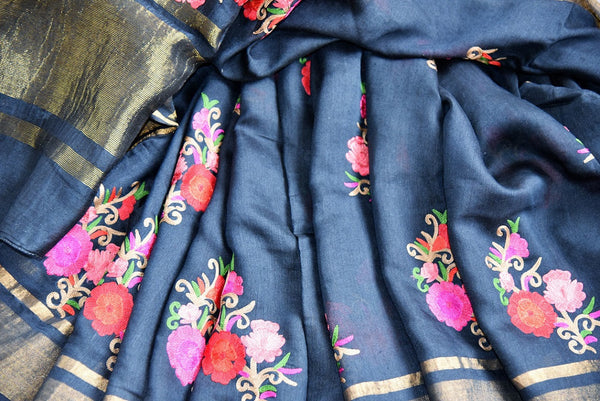 Buy classy Black Linen Saree online with linen thread embroidery from Pure Elegance store. Pure woven Linen saris online in USA with latest Indian designs and styles.-details