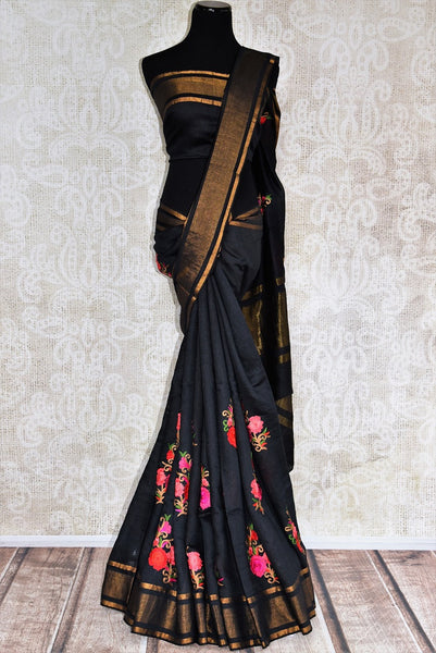 Buy classy Black Linen Saree online with linen thread embroidery from Pure Elegance store. Pure woven Linen saris online in USA with latest Indian designs and styles.-full view