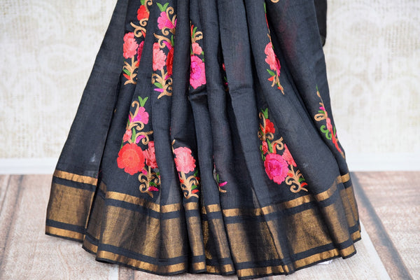 Buy classy Black Linen Saree online with linen thread embroidery from Pure Elegance store. Pure woven Linen saris online in USA with latest Indian designs and styles.-pleats