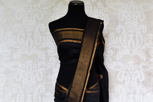 Buy classy Black Linen Saree online with linen thread embroidery from Pure Elegance store. Pure woven Linen saris online in USA with latest Indian designs and styles.-pallu