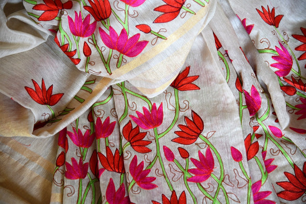 Buy Classic Off White Linen Saree With Floral Embroidery Online In Usa