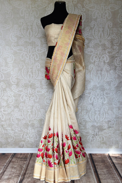 Classic Off White Linen Saree online with floral embroidery buy from Pure Elegance store. Pure woven Linen Sarees in exquisite designs. Buy Indian Sarees online USA.-full view