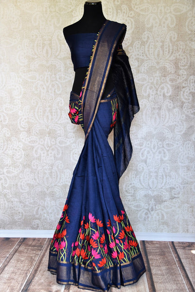 Shop Linen Sarees online from Pure Elegance store. Buy Beautiful Linen Sari online in Blue color for a perfect party wear. Pure Woven Indian Sarees online in USA.-full view