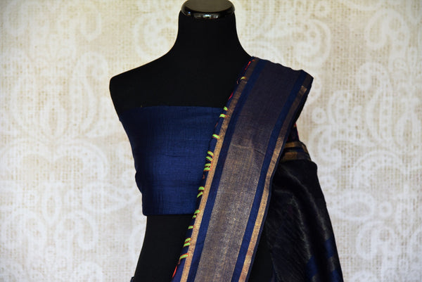 Shop Linen Sarees online from Pure Elegance store. Buy Beautiful Linen Sari online in Blue color for a perfect party wear. Pure Woven Indian Sarees online in USA.-pallu