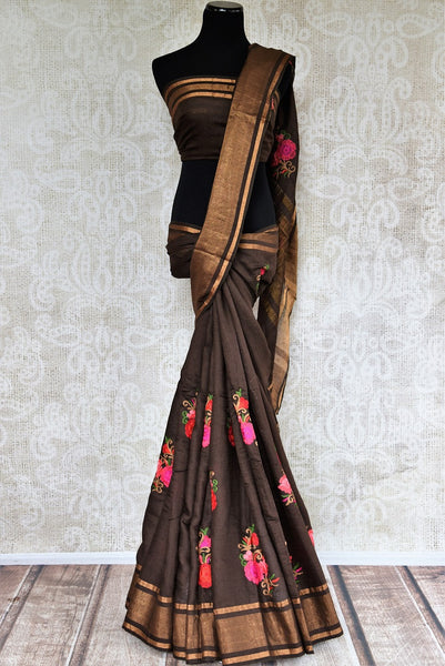 Looking for Linen Saris online in USA? Buy this Brown Linen Saree online with floral motifs from Pure Elegance store. Designer Linen sarees with latest styles in USA.-full view