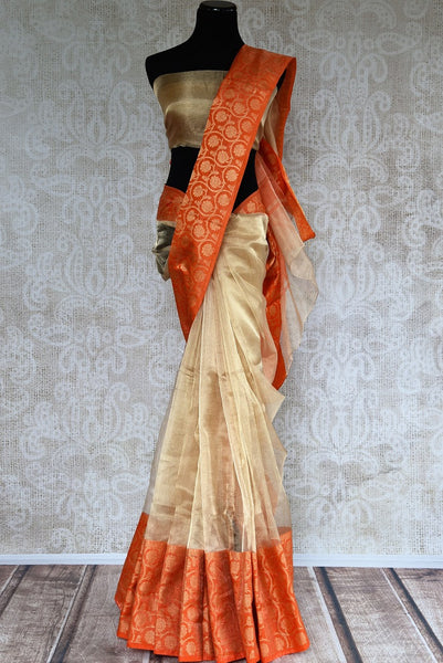 Buy gold zari Kota sari online with orange zari border. Pure Elegance brings exquisite collection of pure woven saris online and in store for Indian women in USA. -full view