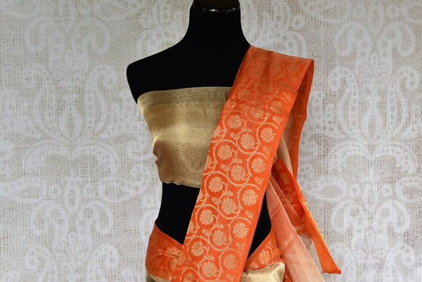Buy gold zari Kota sari online with orange zari border. Pure Elegance brings exquisite collection of pure woven saris online and in store for Indian women in USA. -pallu