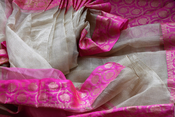 Buy gold zari Kota sari online with pink floral zari border. Pure Elegance brings elegant collection of pure woven sarees online in USA for Indian women. -details