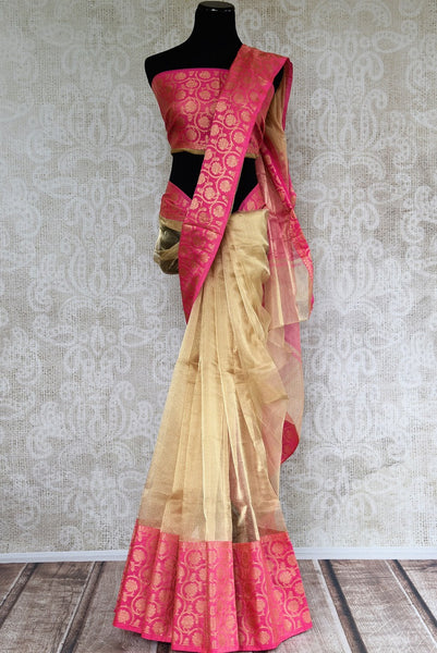 Buy gold zari Kota sari online with pink floral zari border. Pure Elegance brings elegant collection of pure woven sarees online in USA for Indian women. -full view