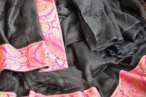 Buy graceful black Matka Silk Saree online from Pure Elegance or visit our store in USA. Pick from an alluring range of woven silk saris online for Indian women in USA.-details
