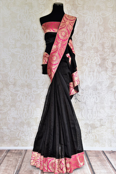 Buy graceful black Matka Silk Saree online from Pure Elegance or visit our store in USA. Pick from an alluring range of woven silk saris online for Indian women in USA.-full view