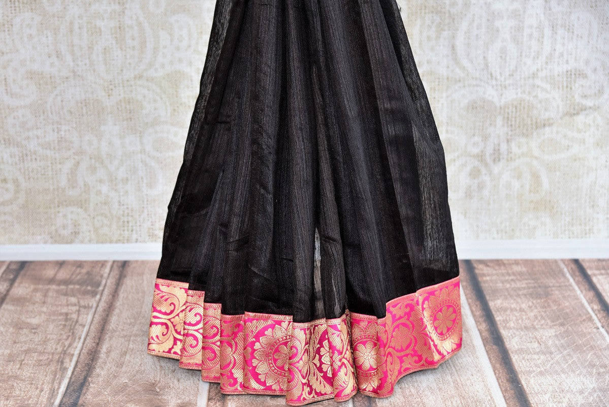 Buy graceful black Matka Silk Saree online from Pure Elegance or visit our store in USA. Pick from an alluring range of woven silk saris online for Indian women in USA.-pleats