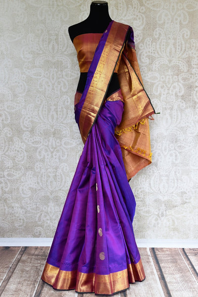 Buy traditional Kanjivaram Silk Saree online in purple color from Pure Elegance store. Huge collection of exquisite Kanchipuram silk sarees online for Indian women.-full view
