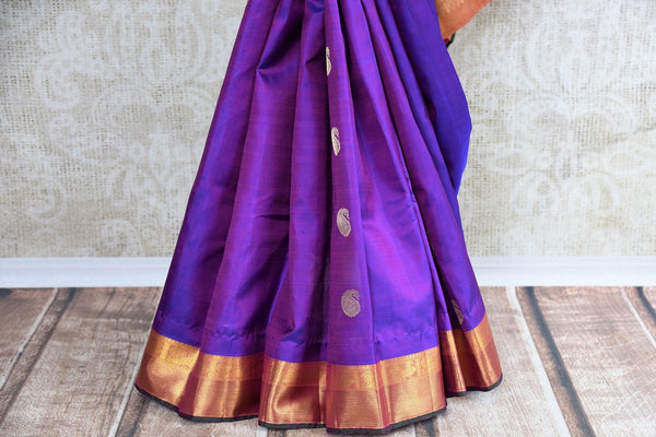 Buy traditional Kanjivaram Silk Saree online in purple color from Pure Elegance store. Huge collection of exquisite Kanchipuram silk sarees online for Indian women.-pleats