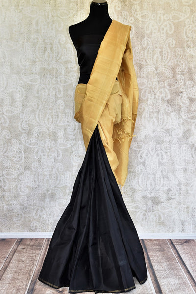 Buy beige gold Kanjivaram sari online or from Pure Elegance store in USA. We bring you beautiful range of traditional Indian Kanchipuram silk sarees online in USA.-full view