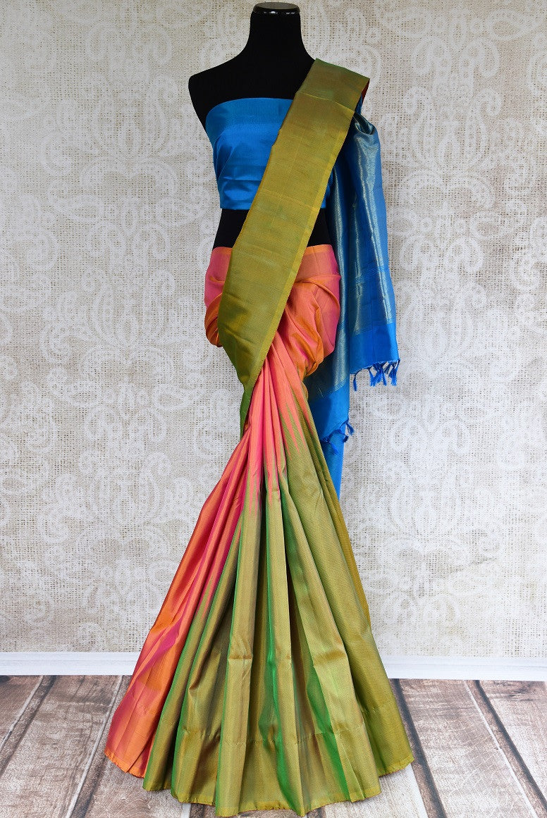 Buy Orange and Green Kanjeevaram silk saree online at Pure Elegance. Online store with exclusive collection of pure woven Kanjivaram silk sarees. Perfect for festivals.-full view