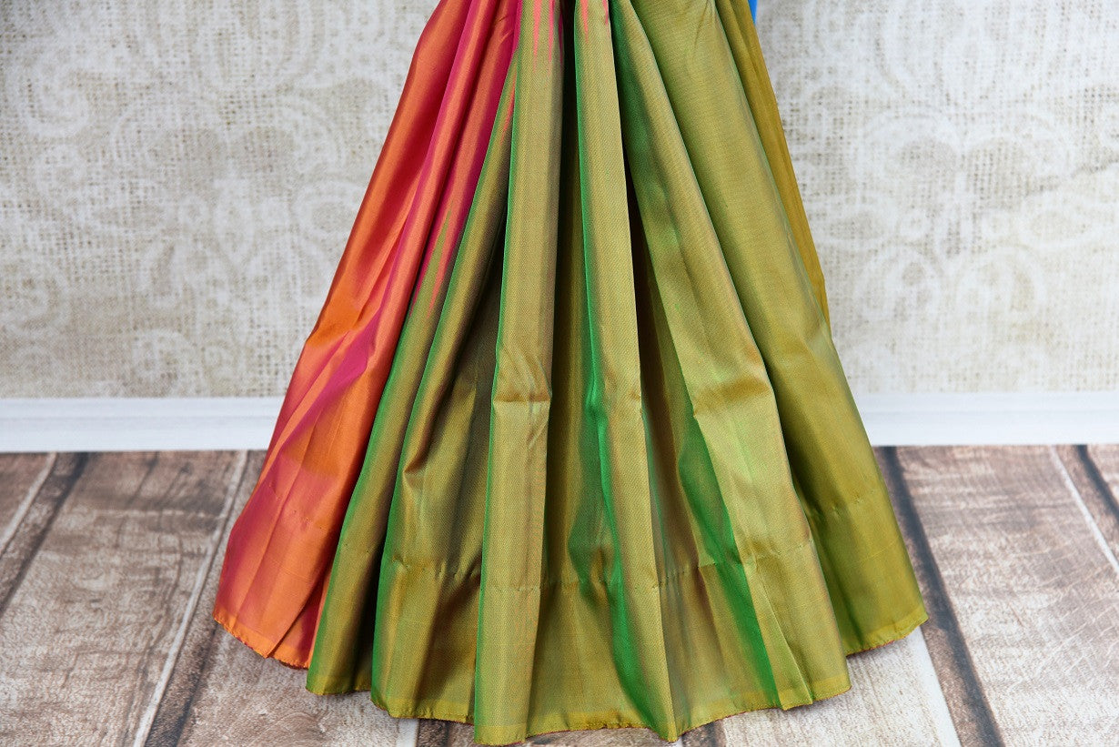 Buy Orange and Green Kanjeevaram silk saree online at Pure Elegance. Online store with exclusive collection of pure woven Kanjivaram silk sarees. Perfect for festivals.-pleats