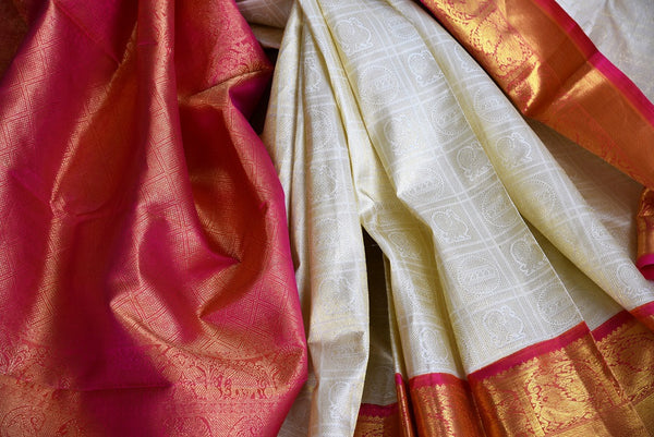 Buy this off white kanchipuram silk saree with a red and gold borders and a red pallu. Perfect for you traditional Indian wedding. Available from Pure Elegance Online USA Store. - close up