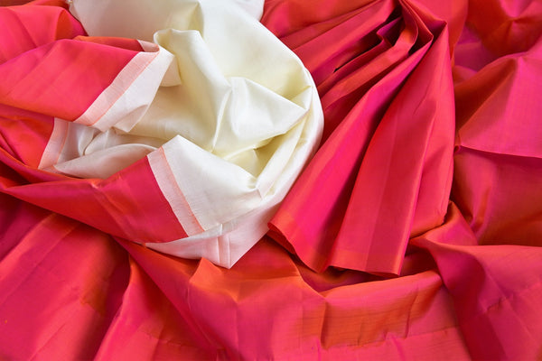 Buy bright pink Kanjivaram silk saree online at Pure Elegance store. Exclusively curated collection of pure woven Kancheepuram silk sarees for Indian women. -details