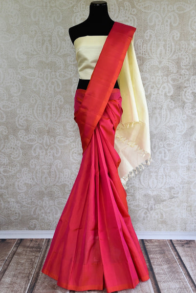 Buy bright pink Kanjivaram silk saree online at Pure Elegance store. Exclusively curated collection of pure woven Kancheepuram silk sarees for Indian women. -full view