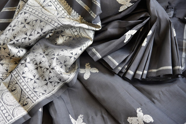 Buy Traditional Black Silk Kanjivaram Sari online at Pure Elegance store. Exquisite collection of Indian Kanjeevaram silk sarees online USA. Perfect for weddings.-details