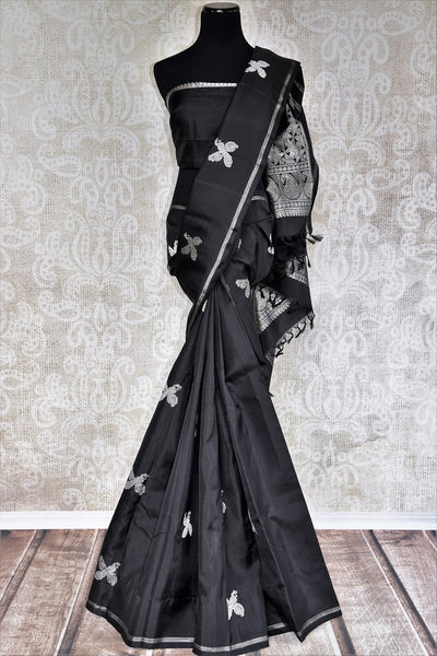Buy Traditional Black Silk Kanjivaram Sari online at Pure Elegance store. Exquisite collection of Indian Kanjeevaram silk sarees online USA. Perfect for weddings.-full view