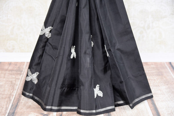 Buy Traditional Black Silk Kanjivaram Sari online at Pure Elegance store. Exquisite collection of Indian Kanjeevaram silk sarees online USA. Perfect for weddings.-pleats