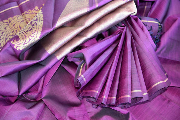 Pure Elegance brings a range of fine woven Kanjivaram silk sarees online and in store for Indian women. Buy elegant purple Kanjeevaram saree online perfect for various occasions.-details