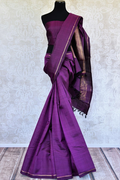 Pure Elegance brings a range of fine woven Kanjivaram silk sarees online and in store for Indian women. Buy elegant purple Kanjeevaram saree online perfect for various occasions.-full view