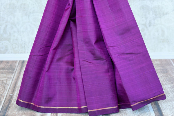 Pure Elegance brings a range of fine woven Kanjivaram silk sarees online and in store for Indian women. Buy elegant purple Kanjeevaram saree online perfect for various occasions.-pleats