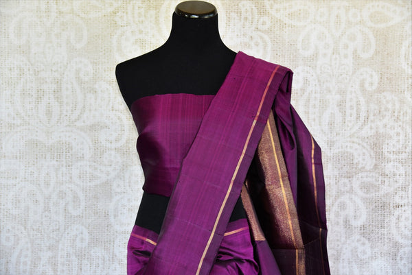 Pure Elegance brings a range of fine woven Kanjivaram silk sarees online and in store for Indian women. Buy elegant purple Kanjeevaram saree online perfect for various occasions.-pallu