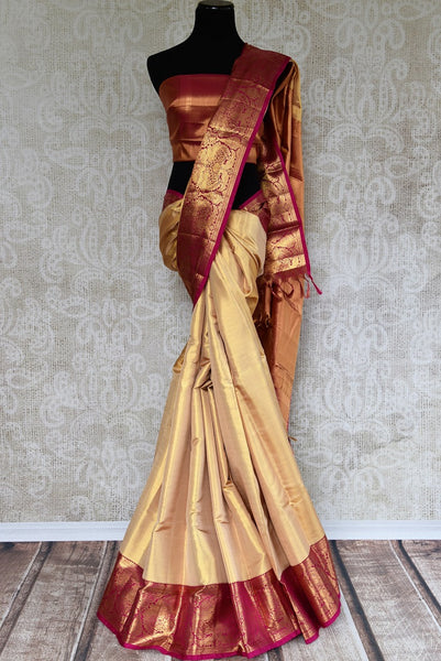 Pure Elegance store presents rich woven Kanjeevaram Silk Sarees online. Buy traditional Gold Tissue Zari Kanjivaram silk saree online in USA for Indian women. -full view
